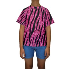 SKN3 BK-PK MARBLE (R) Kids  Short Sleeve Swimwear by trendistuff