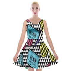 Glasses Cassette Velvet Skater Dress by AnjaniArt