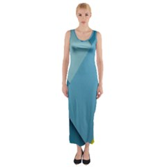 New Bok Blue Fitted Maxi Dress by AnjaniArt