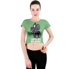 Pet Squirrel Green Nuts Crew Neck Crop Top by AnjaniArt