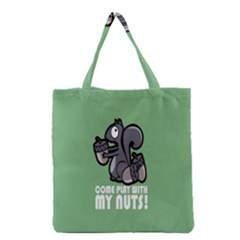 Pet Squirrel Green Nuts Grocery Tote Bag by AnjaniArt