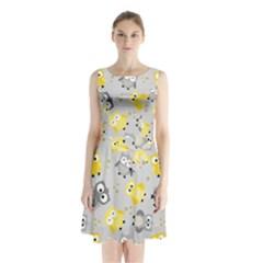 Owl Bird Yellow Animals Sleeveless Chiffon Waist Tie Dress by AnjaniArt