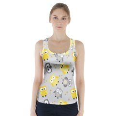 Owl Bird Yellow Animals Racer Back Sports Top by AnjaniArt