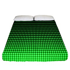 Neon Green And Black Halftone Copy Fitted Sheet (california King Size)