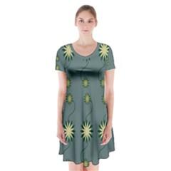 Repeat Short Sleeve V-neck Flare Dress by AnjaniArt