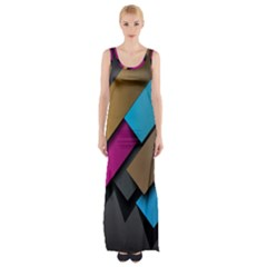 Shapes Box Brown Pink Blue Maxi Thigh Split Dress by AnjaniArt