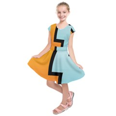 Two Fafe Orange Blue Kids  Short Sleeve Dress by AnjaniArt