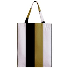 Black Brown Gold White Stripes Elegant Festive Stripe Pattern Zipper Classic Tote Bag by yoursparklingshop
