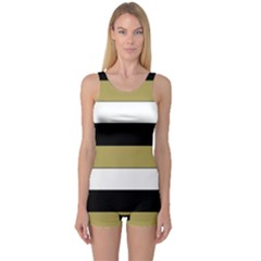 Black Brown Gold White Horizontal Stripes Elegant 8000 Sv Festive Stripe One Piece Boyleg Swimsuit by yoursparklingshop