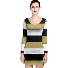 Black Brown Gold White Horizontal Stripes Elegant 8000 Sv Festive Stripe Long Sleeve Bodycon Dress by yoursparklingshop