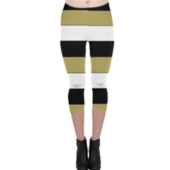Black Brown Gold White Horizontal Stripes Elegant 8000 Sv Festive Stripe Capri Leggings  by yoursparklingshop