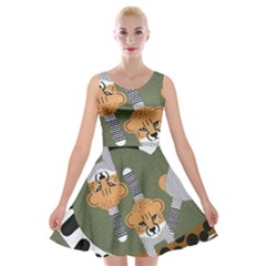 Chetah Animals Velvet Skater Dress by AnjaniArt