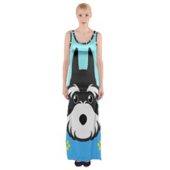 Face Dog Maxi Thigh Split Dress by AnjaniArt