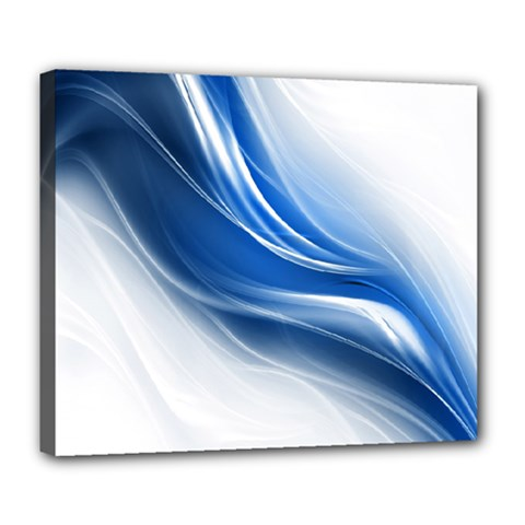 Light Waves Blue Deluxe Canvas 24  X 20   by AnjaniArt