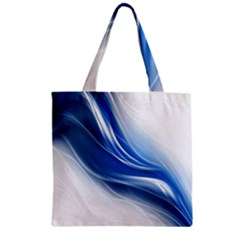 Light Waves Blue Zipper Grocery Tote Bag by AnjaniArt