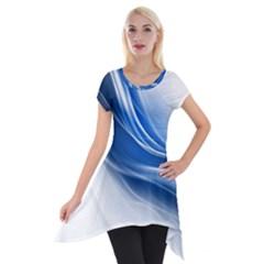 Light Waves Blue Short Sleeve Side Drop Tunic by AnjaniArt