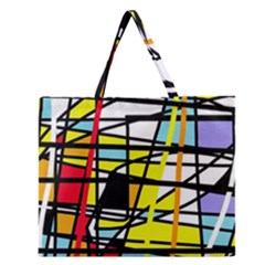 Casual Abstraction Zipper Large Tote Bag by Valentinaart