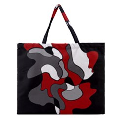 Creative Spot   Red Zipper Large Tote Bag by Valentinaart