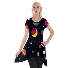 Colorful Dots Short Sleeve Side Drop Tunic by Valentinaart