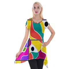 Colorful Windows  Short Sleeve Side Drop Tunic by Valentinaart