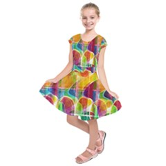 Abstract Sunrise Kids  Short Sleeve Dress by Valentinaart