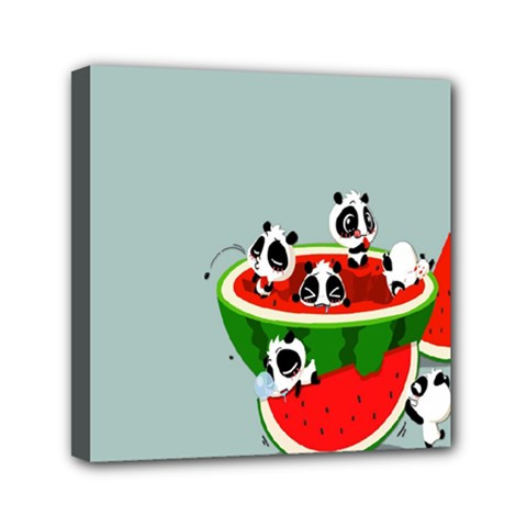 Panda Watermelon Mini Canvas 6  x 6  by AnjaniArt