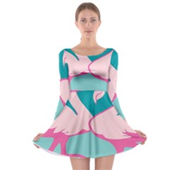 Pink Flamengo Long Sleeve Skater Dress by AnjaniArt