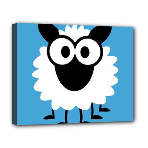 Sheep Animals Bleu Deluxe Canvas 20  x 16   by AnjaniArt