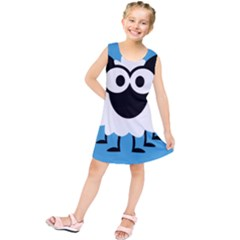 Sheep Animals Bleu Kids  Tunic Dress by AnjaniArt