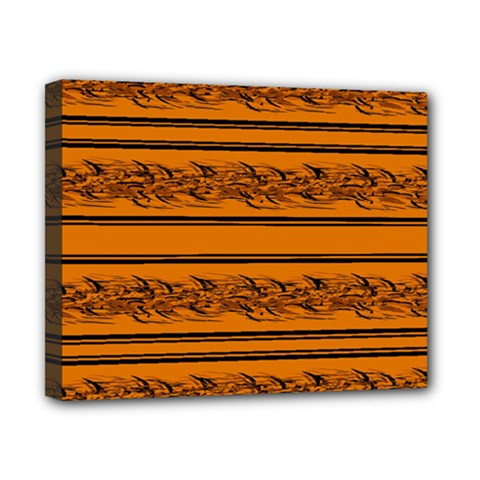 Orange Barbwire Pattern Canvas 10  X 8  by Valentinaart