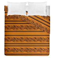Orange Barbwire Pattern Duvet Cover Double Side (queen Size) by Valentinaart