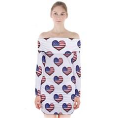 Usa Grunge Heart Shaped Flag Pattern Long Sleeve Off Shoulder Dress by dflcprintsclothing