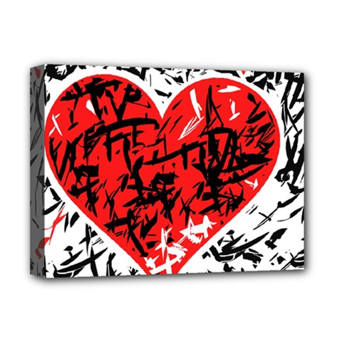 Red Hart   Graffiti Style Deluxe Canvas 16  X 12   by Valentinaart