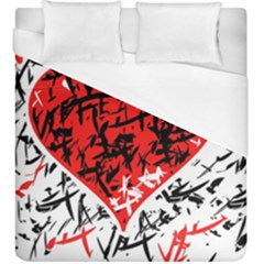 Red Hart   Graffiti Style Duvet Cover (king Size) by Valentinaart