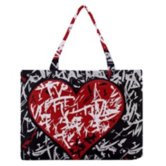 Red Graffiti Style Hart  Medium Zipper Tote Bag by Valentinaart