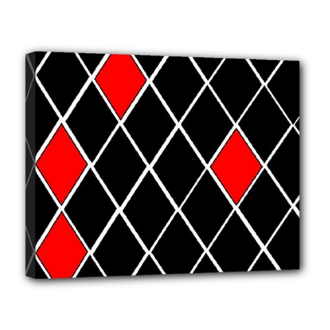 Elegant Black And White Red Diamonds Pattern Canvas 14  X 11  by yoursparklingshop