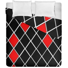 Elegant Black And White Red Diamonds Pattern Duvet Cover Double Side (california King Size) by yoursparklingshop