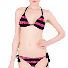 Stripes2 Black Marble & Pink Marble Bikini Set by trendistuff
