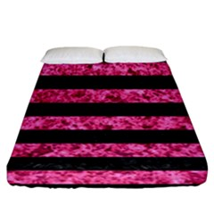 Stripes2 Black Marble & Pink Marble Fitted Sheet (california King Size)