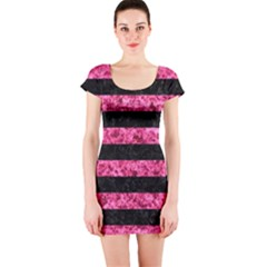 Stripes2 Black Marble & Pink Marble Short Sleeve Bodycon Dress