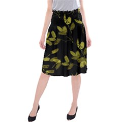 Dark Floral Print Midi Beach Skirt by dflcprintsclothing