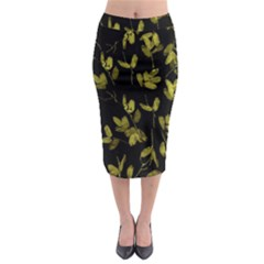 Dark Floral Print Midi Pencil Skirt by dflcprintsclothing