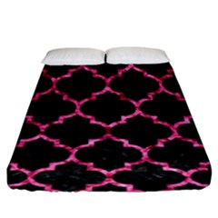 Tile1 Black Marble & Pink Marble Fitted Sheet (king Size)