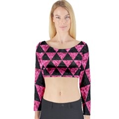 Triangle3 Black Marble & Pink Marble Long Sleeve Crop Top (tight Fit)