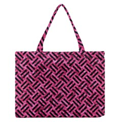 Woven2 Black Marble & Pink Marble (r) Medium Zipper Tote Bag by trendistuff