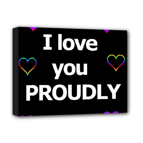 Proudly Love Deluxe Canvas 16  X 12   by Valentinaart