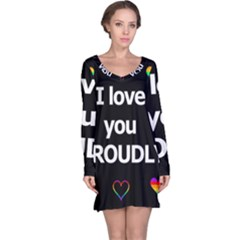 Proudly Love Long Sleeve Nightdress by Valentinaart