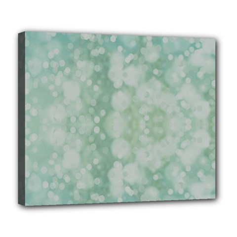 Light Circles, Mint Green Color Deluxe Canvas 24  X 20   by picsaspassion
