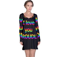 I Love You Proudly Long Sleeve Nightdress by Valentinaart