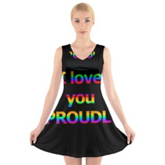 I Love You Proudly V Neck Sleeveless Skater Dress by Valentinaart